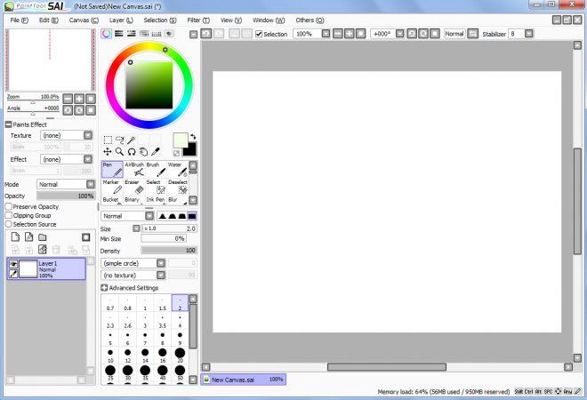 software desain grafis - pen tool sai