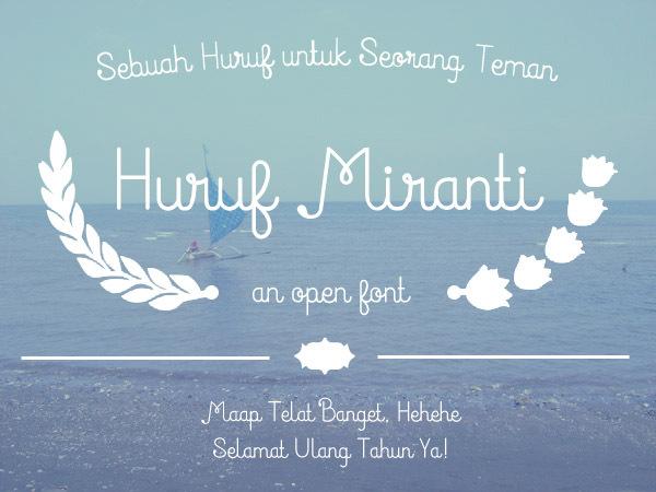 font tegak bersambung - Miranti